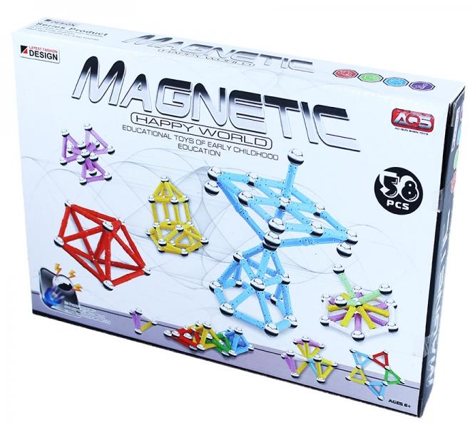 Stavebnica magnetická 3D, 58 dielov