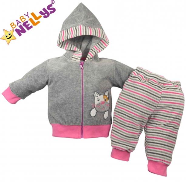 Hrejivá súpravička Baby Nellys ® - Mačička prúžok ružový