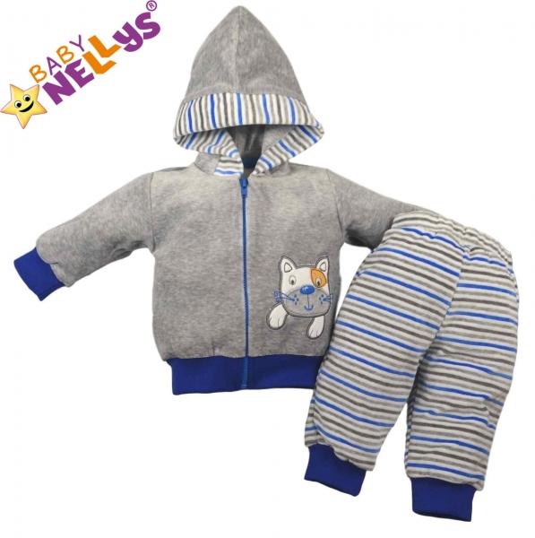 Hrejivá súpravička Baby Nellys ® - Mačička prúžok modrý-74 (6-9m)