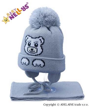 Zimná čiapočka s šálom MACKO - šedá