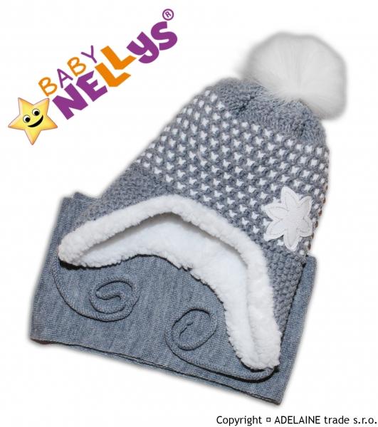 BABY NELLYS Zimná čiapočka s kožušinkou a šálom Lili - šedá