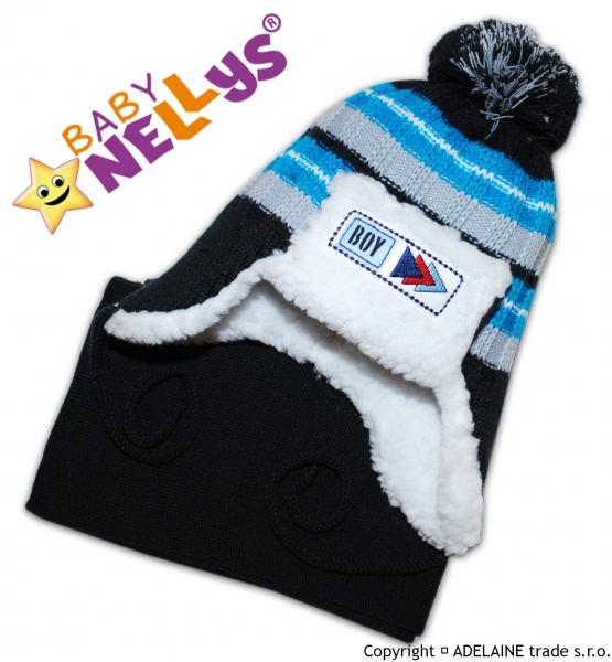 BABY NELLYS Zimná čiapočka s kožušinkou a šálom Maty - tm.modrá