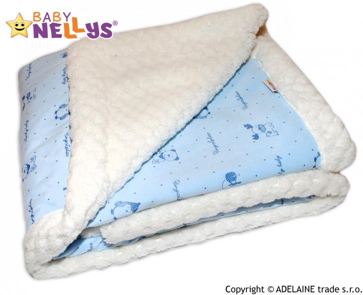Beránková dečka Baby Nellys ® - modrá / smotanová