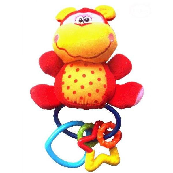 Plyšové hrkálka s hryzátkom a pískátkem opička