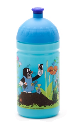Zdravá fľaša - 0.5l - Krtko a nohavičky, modrá