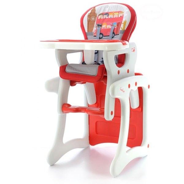 Euro Baby Jedálenský stolček 2v1 - červený autobus, K19