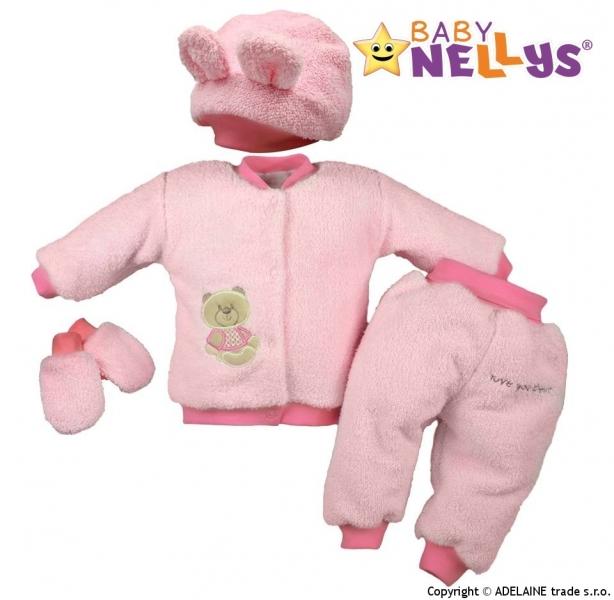 Chlupáčkový komplet Sweet Bear Baby Nellys ® - sv. ružový, veľ. 80