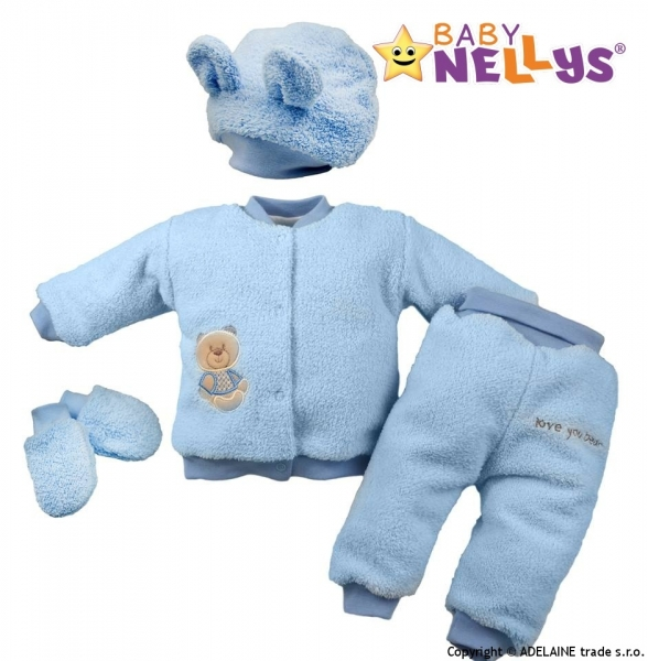Chlupáčkový komplet Sweet Bear Baby Nellys ® - sv. modrý, veľ. 80