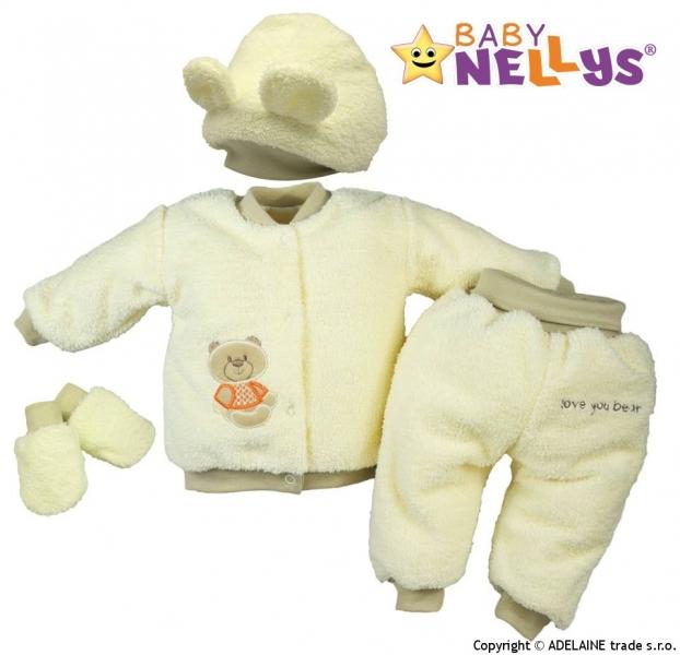 Chlupáčkový komplet Sweet Bear Baby Nellys ® - krémový-80 (9-12m)