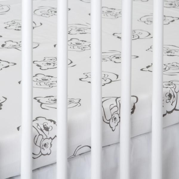 Bavlnené prestieradlo - Medvedíci v bielej-120x60