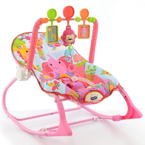 Lehátko, hojdačka pre dojčatá s vibrácií a hudbou - Safari ružové