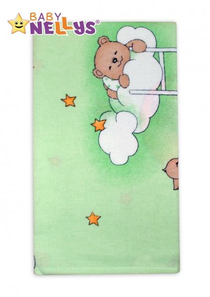Flanelová plienka Baby Nellys ® - Macko na rebríku zelený