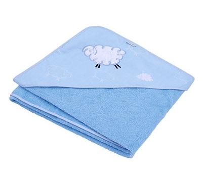 Osuška s kapucňou - Ovečka Fluffy - modrá
