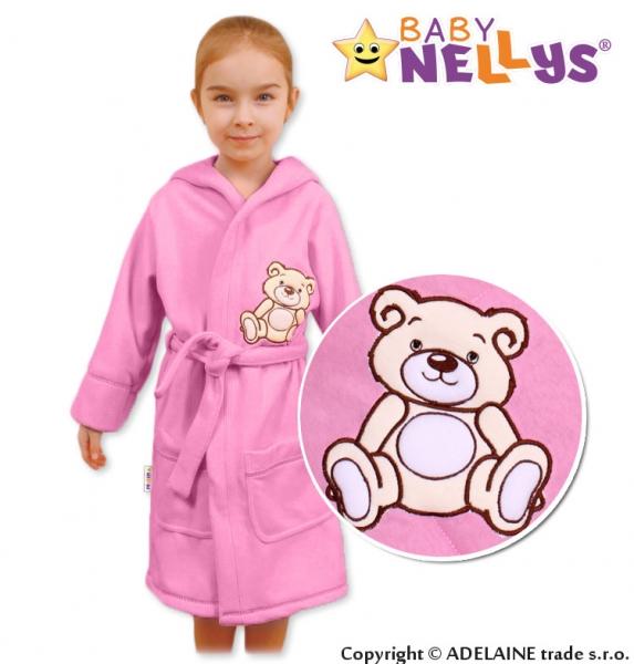 Baby Nellys Detský župan - Medvedík Teddy - sv. ružový