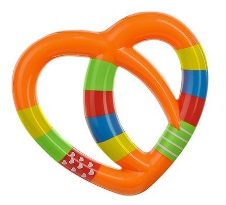 Edukačná hračka - hrkálka - SRDIEČKO oranžové