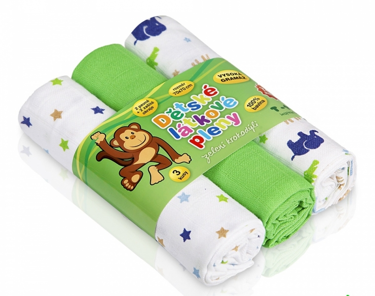 T-Tomi Detské látkové tetra plienky LUX - Zvieratká a zelený krokodíl