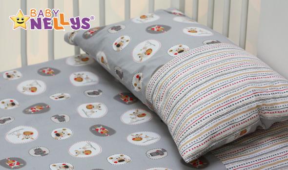 Obliečky do postieľky Baby Nellys - Zvieratká v šedej / krížikový vzor