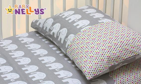 Obliečky do postieľky Baby Nellys - Slony v šedej / farebnej bodkami