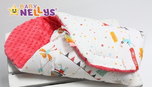 Zavinovačka, dečka Baby Nellys ®s Mink - Veselý cirkus / farebné hviezdičky