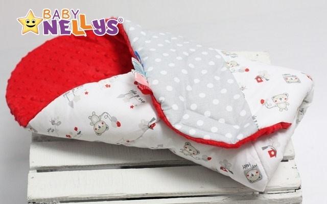 Zavinovačka, dečka Baby Nellys ®s Mink - Medvedík balónik / retro sivé