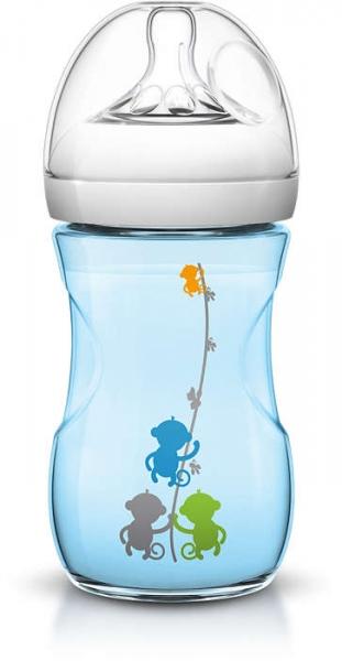 Fľaštička Avent Natural - 260ml - modrá s obrázkami, 1m +