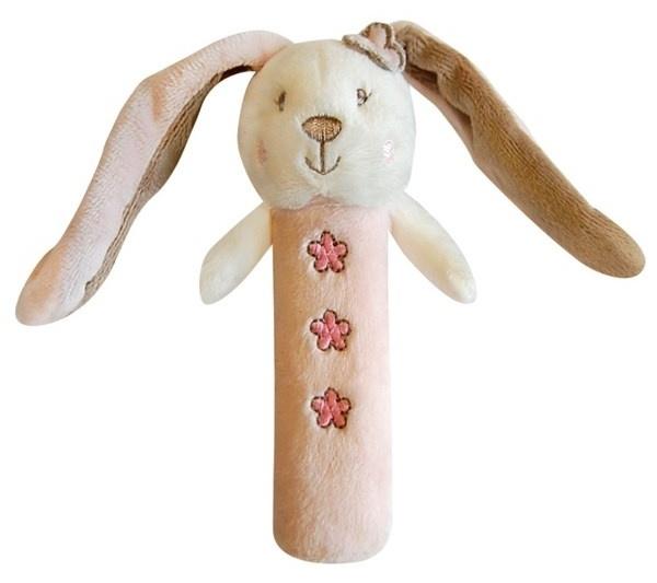Edukačná hračka Bobo Baby - pískatko - Zajačik ružový