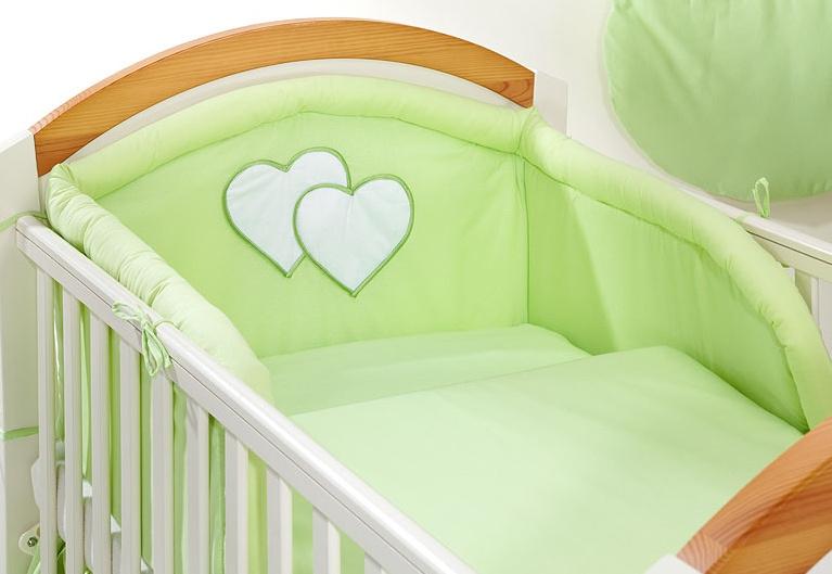 Bavlnené obliečky Srdiečko zelené