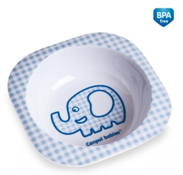 Melanínová mištička Canpol Babies - jemná kostička modrá