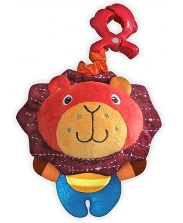 Plyšová hračka BABY MIX s hrkálkou a hryzátkom - Lev