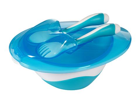 Miska s lyžičkou a vidličkou Baby Ono - modrá