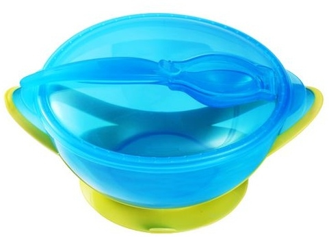 Miska s prísavkou a lyžičkou Baby Ono - modrá / zelená