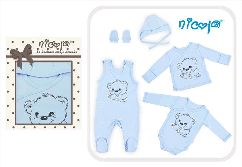 9bae2fa82dc3 5-dielna súprava do pôrodnice NICOL Macko - modrá