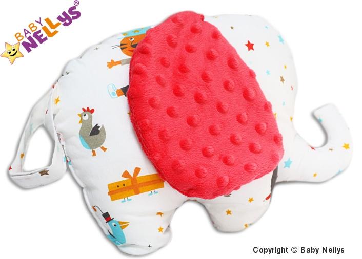 Edukačná hračka SLON s Minky Baby Nellys ® - cirkus / farebné hviezdičky - Minky koral