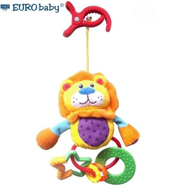 Euro Baby Plyšová hračka s hrkálkou a hryzátkom - Levík, Ce19