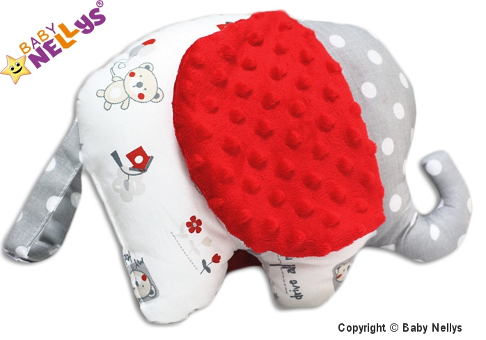 Edukačná hračka SLON s Minky Baby Nellys ® - Medvedík balónik / retro sivé / Minky červená