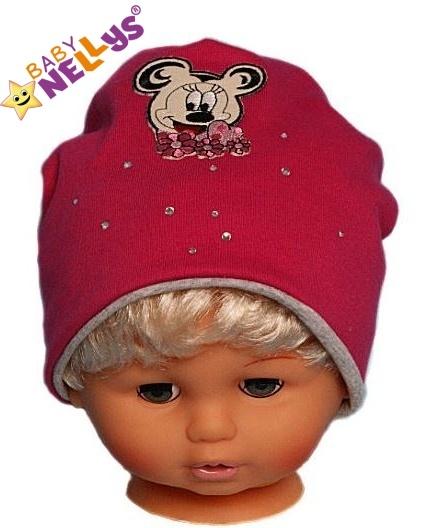 Bavlnená čiapočka Myška s kamienkami Baby Nellys ® - sýto ružová-48/52 čepičky obvod