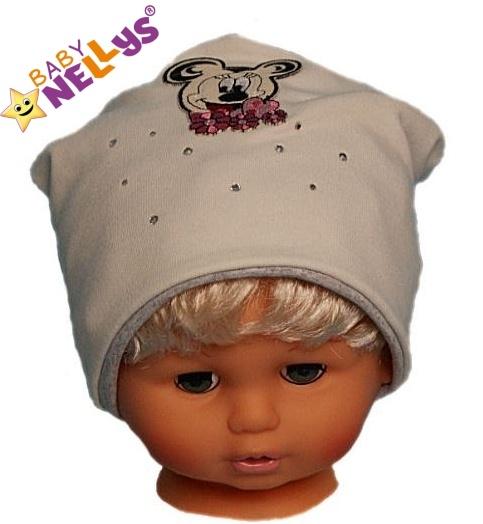 Bavlnená čiapočka Myška s kamienkami Baby Nellys ®- smotanová