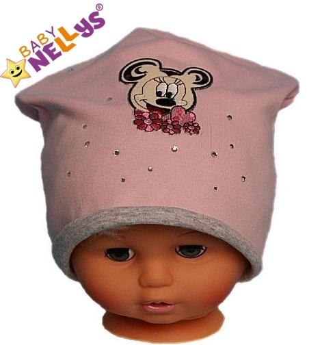 Bavlnená čiapočka Myška s kamienkami Baby Nellys ® - sv. ružová-#Velikost koj. oblečení;104 (3-4r)