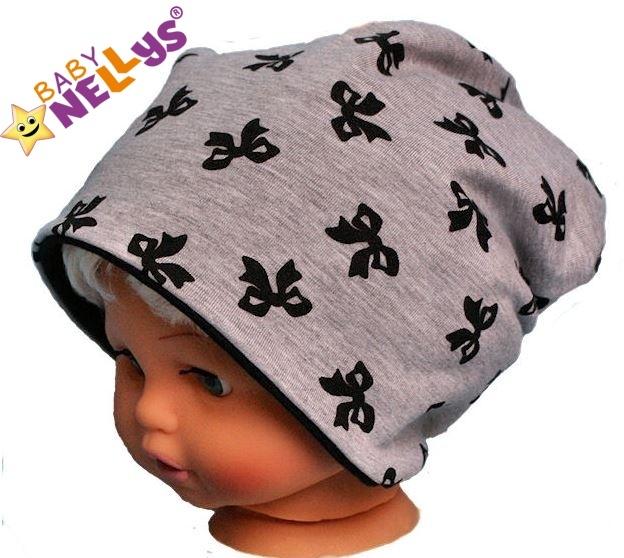 Bavlnená čiapočka s mašličkami Baby Nellys ® - sivý melírek-50/52 čepičky obvod