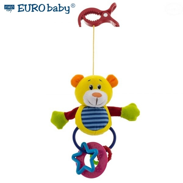 Euro Baby Plyšová hračka s klipom a hrkálkou - Medvedík, Ce19