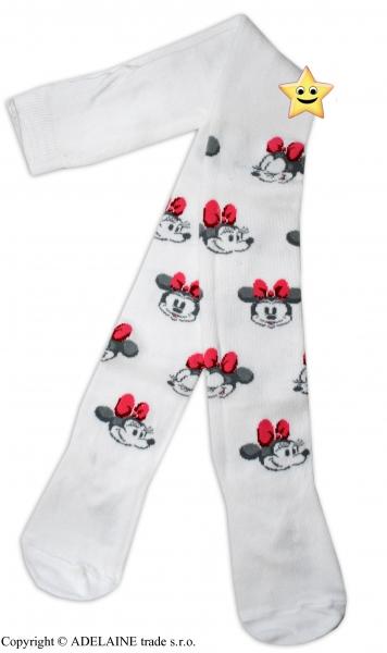 Bavlnené pančucháčky Disney Minnie - biele