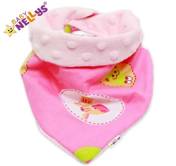 Detský šatka / podbradník na krk Baby Nellys ® Mink - ZEBRA ružová / sv.ružová