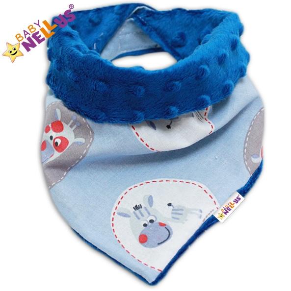 Detský šatka / podbradník na krk Baby Nellys ® Mink - ZEBRA sv. modrá / tm. modrá