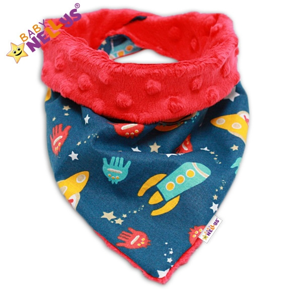 Detský šatka / podbradník na krk Baby Nellys ® Mink - RAKETY - Minky červená