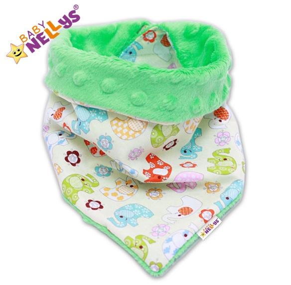 Detský šatka / podbradník na krk Baby Nellys ® Mink - Slonica / zelená Minky