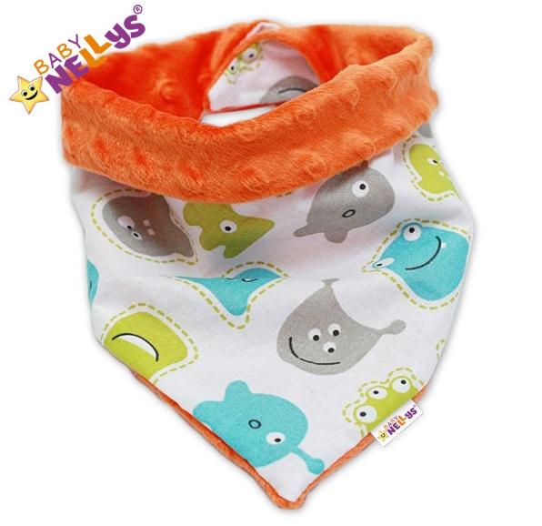 Detský šatka / podbradník na krk Baby Nellys ® Mink - UFOUŇCI / oranž Minky