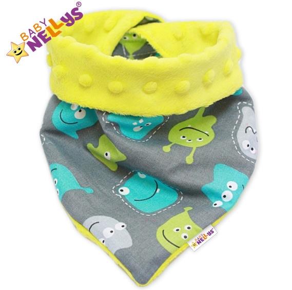 Detský šatka / podbradník na krk Baby Nellys ® Mink - UFOUŇCI v sivej / žltej Minky