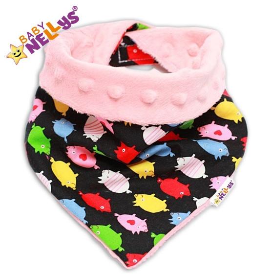 Detský šatka / podbradník na krk Baby Nellys ® Mink - čuníci / zv. ružová Minky
