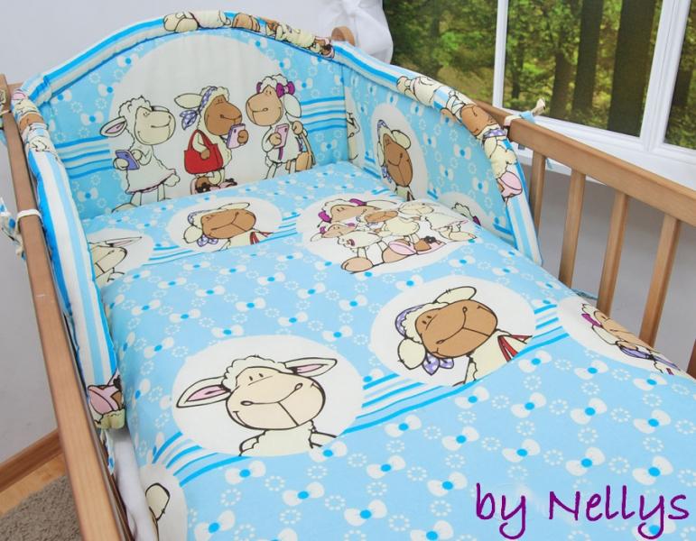 Baby Nellys Bavlnené obliečky Ovečka Jolly modrá, 135x100 cm