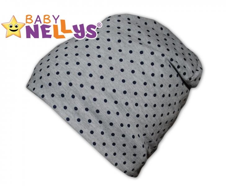 Bavlnená čiapočka s granátovými bodkami Baby Nellys ® - šedá-50/52 čepičky obvod